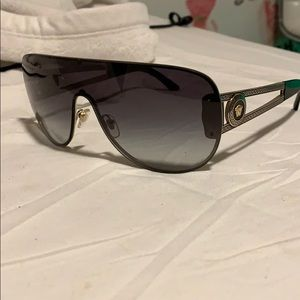 Black and Gold Versace Shield Sunglasses